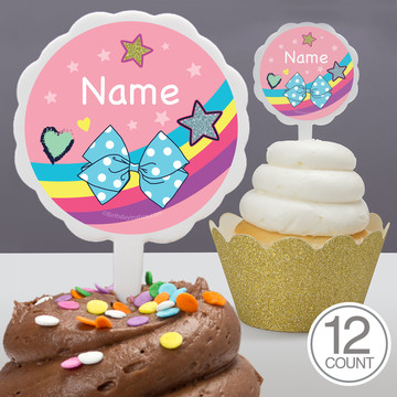 Party Bows Personalized Cupcake Picks (12 Count)