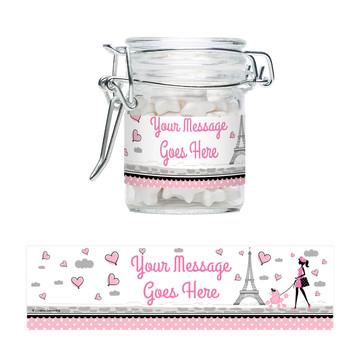 Party in Paris Personalized Glass Apothecary Jars (12 Count)