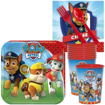 Paw Patrol Standard Tableware Kit With Plastic Favor Cups (Serves 8)
