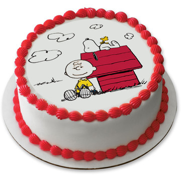 "Peanuts 7.5"" Round Edible Cake Topper (Each)"