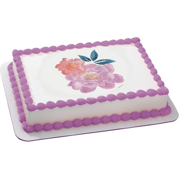 Peony Flowers Quarter Sheet Edible Cake Topper (Each)