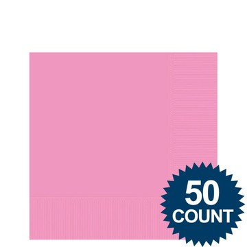 Pink 2-Ply Beverage Napkins, 50ct.
