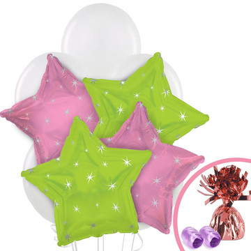 Pink and Green Balloon Bouquet