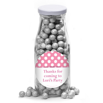 Pink Dots Personalized Glass Milk Bottles (12 Count)