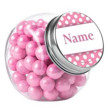 Pink Dots Personalized Plain Glass Jars (12 Count)