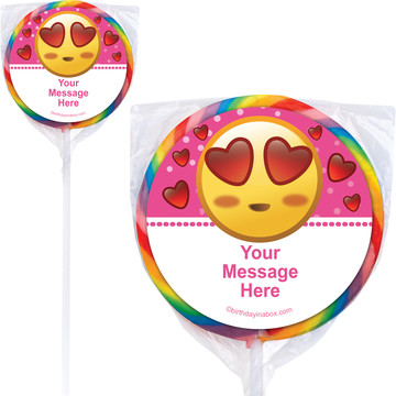 Pink Emoji Personalized Lollipops (12 Pack)