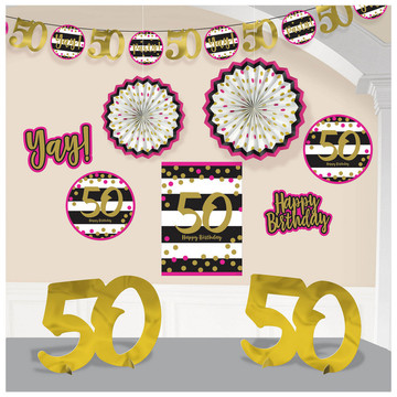 Pink Gold 50th Birthday Room Decorating Kit 10 Pieces