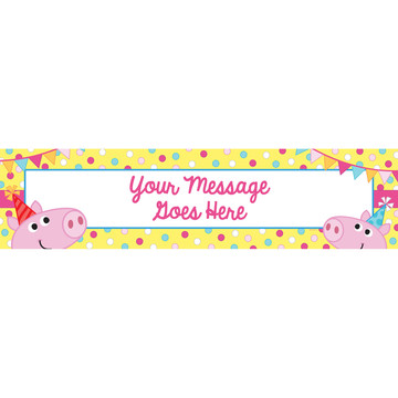 Pink Peppy Pig Personalized Banner (Each)