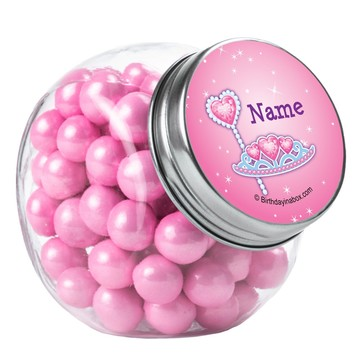Pink Princess Party Personalized Plain Glass Jars (12 Count)