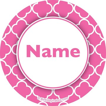 Pink Quatrefoil Personalized Mini Stickers (Sheet of 20)