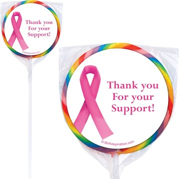 Pink Ribbon Personalized Lollipops (12 Pack)