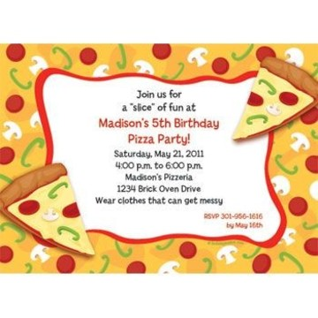 Pizza Party Personalized Invitation (each)