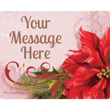 Poinsettia Holiday Personalized Rectangular Stickers (Sheet of 15)