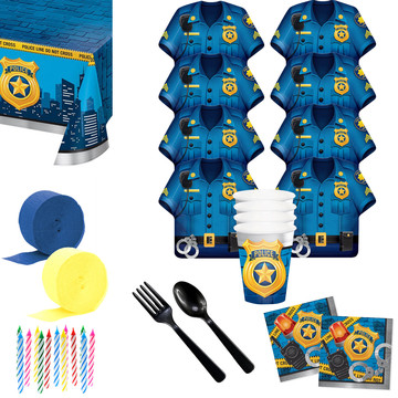 Police Party Deluxe Tableware Kit (Serves 8)