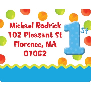 Polka Dot Boys 1st Birthday Personalized Address Labels (Sheet of 15)