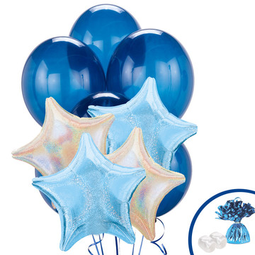 Silver & Pastel Blue Dazzler Star Balloon Bouquet
