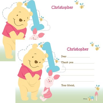 Pooh Personalized Thank You Note (Each)