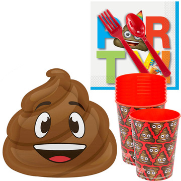 Poop Party Standard Tableware Kit With Favor Cups (Serves 8)