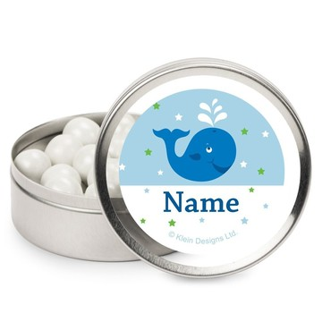 Preppy Blue Ocean Party Personalized Candy Tins (12 Pack)