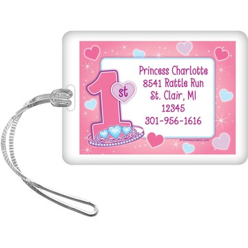 Princess 1st Birthday Personalized Bag Tag (each)