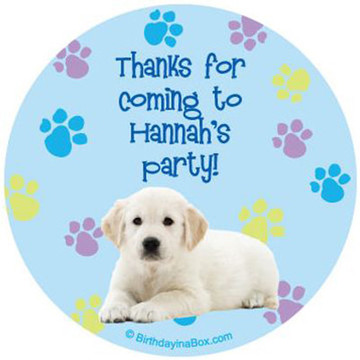 Puppy Party Personalized Stickers (sheet of 12)