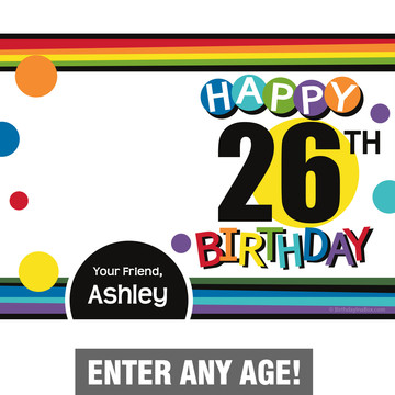 Rainbow Birthday Add-Any-Age Personalized Thank You (Each)