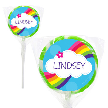 """Rainbow Wishes Personalized 2"""" Lollipops (20 Pack)"""