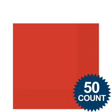 Red 2-Ply Beverage Napkins, 50ct.