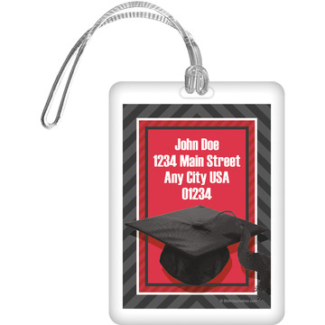Red Caps Off Graduation Personalized Luggage Tag (Each)