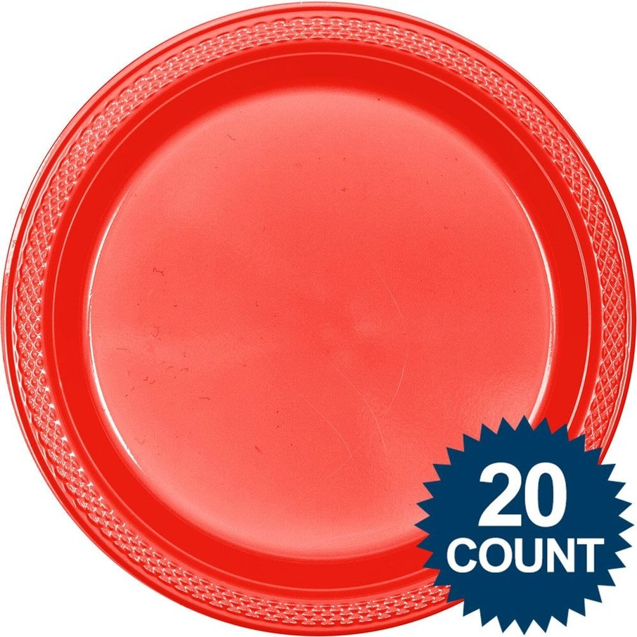 Red Plastic Plates 10  (20 count)  sc 1 st  Wholesale Party Supplies & Red Plastic Plates 10 (20 count) - Cheap Solid Tableware Supplies