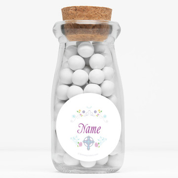 """Religious Party Personalized 4"""" Glass Milk Jars (Set of 12)"""