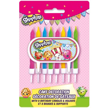 Shopkins Cake Decoration with 8 Candle Holders