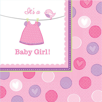 Shower With Love Baby Girl Luncheon Napkin (16 Count)