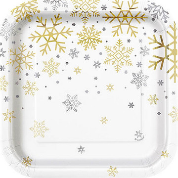 "Silver and Gold Snowflake 7"" Plates (8)"