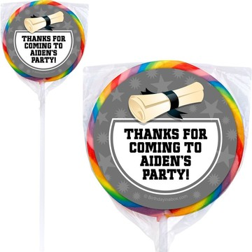 Silver Grad Personalized Lollipops (12 Pack)