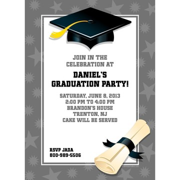 Silver Graduation Personalized Invitation (Each)