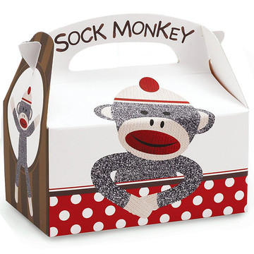 Sock Monkey Red Empty Favor Boxes
