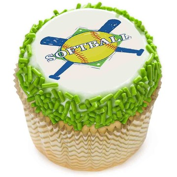 "Softball 2"" Edible Cupcake Topper (12 Images)"