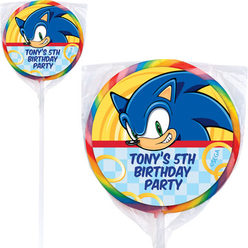 Sonic Personalized Lollipops (12 Pack)