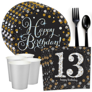 Sparkling Celebration 13th Birthday Standard Tableware Kit (Serves 8)