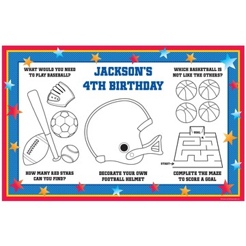 Sports Birthday Personalized Activity Mats (8-Pack)