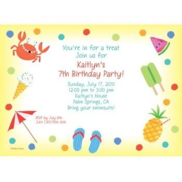 Summer Treats Personalized Invitation (each)