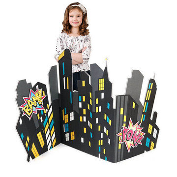 Superhero Girl City Scape Standup - 4' Tall