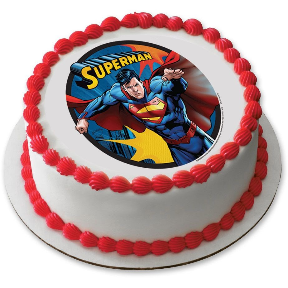 Superman Edible Cake Images : Superman 7.5 Round Edible Cake Topper (Each) - Wholesale ...