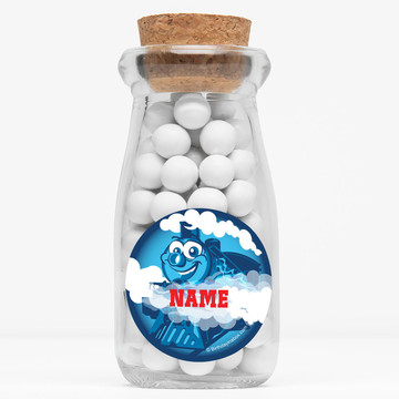 "Tank Engine Personalized 4"" Glass Milk Jars (Set of 12)"