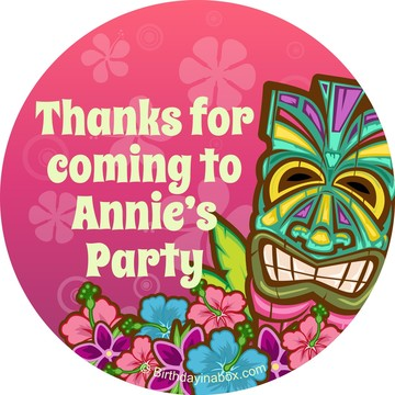 Tiki Party Personalized Stickers (sheet of 12)