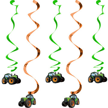 Tractor Time Hanging Decorations (5 Count)