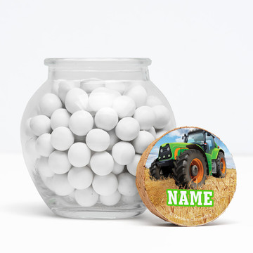 """Tractor Time Personalized 3"""" Glass Sphere Jars (Set of 12)"""