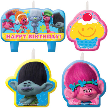 Trolls Birthday Candles (4)