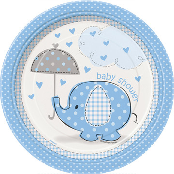 "Umbrellaphants Blue 7"" Cake Plates (8 Count)"